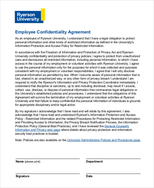 basic employee confidentiality agreement
