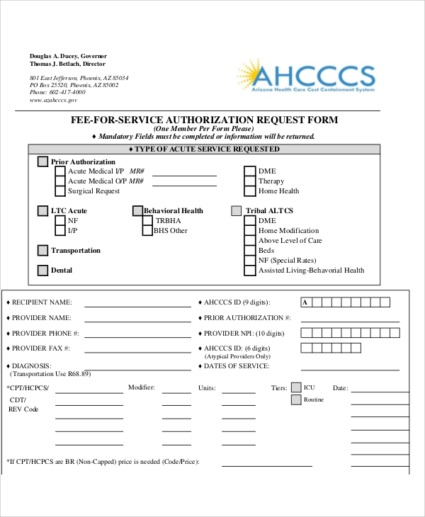 service authorization request form pdf