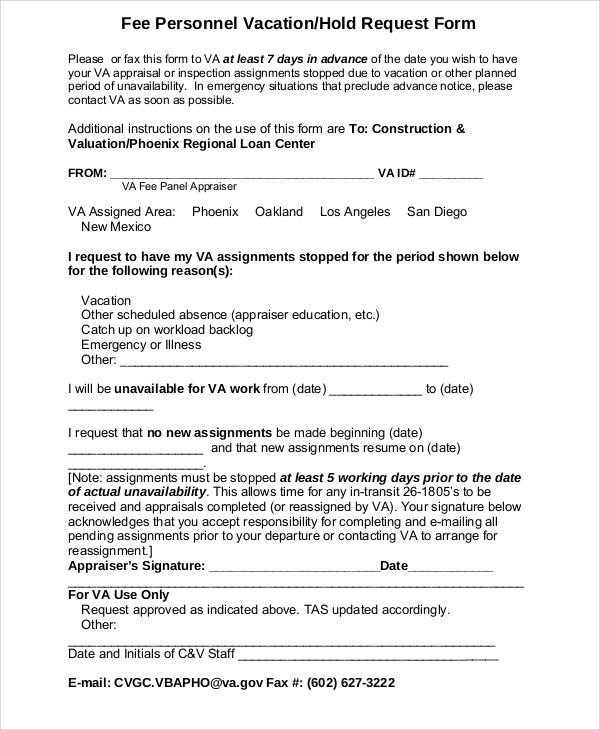 10  sample vacation request form