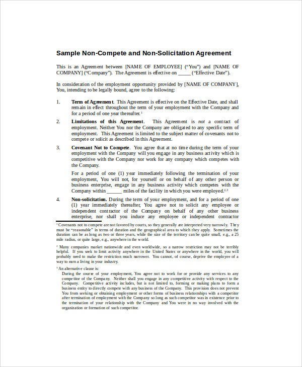 basic non compete agreement form