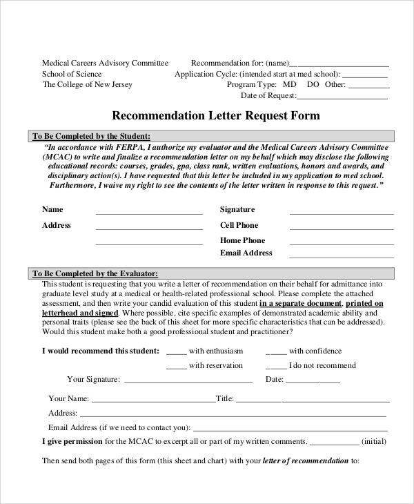 Sample Letter Request Form   Examples In Word Pdf