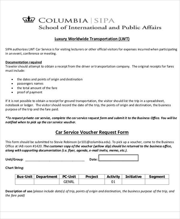 car service voucher request form