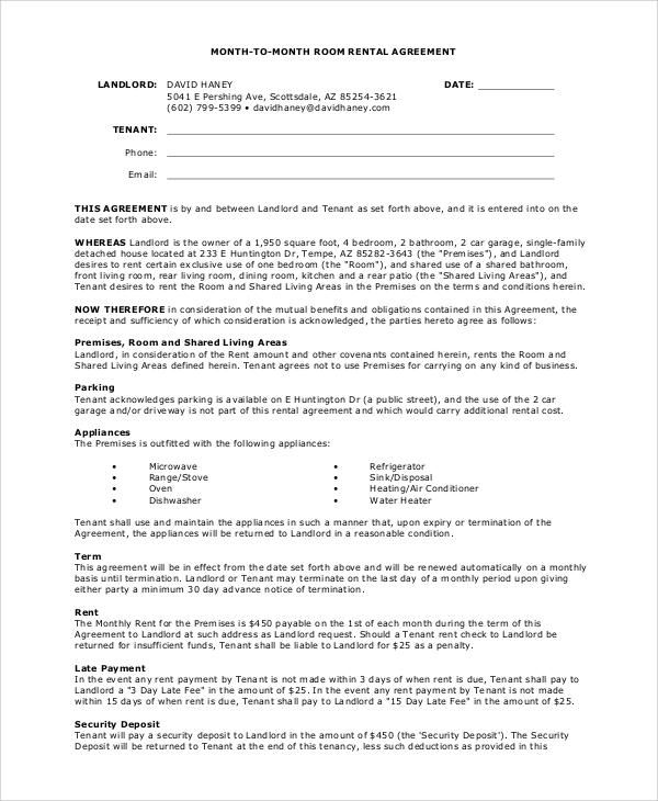 basic month to month room rental agreement