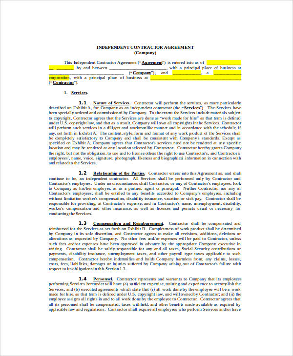 independent contractor agreement1