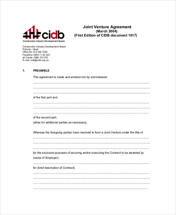 Sample Joint Venture Agreement