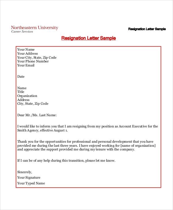 standard resignation letter format