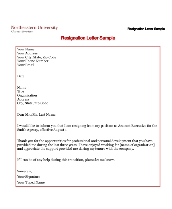 6 standard resignation letter samples sample templates
