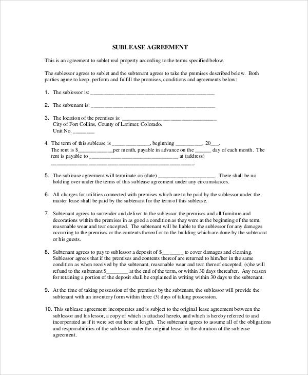 Stunning Basic Sublet Agreement Gallery  Best Resume Examples For