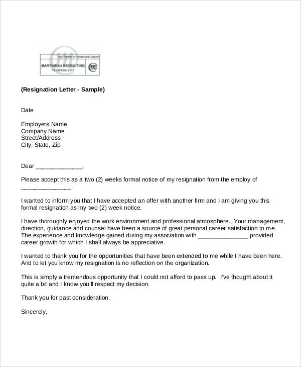standard notice of resignation letter