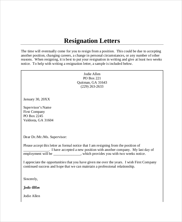 How To Word Your Letter Of Resignation