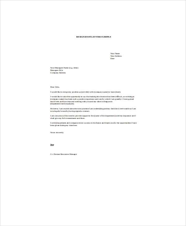 standard resignation letter in word