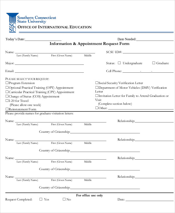 information and appointment request form