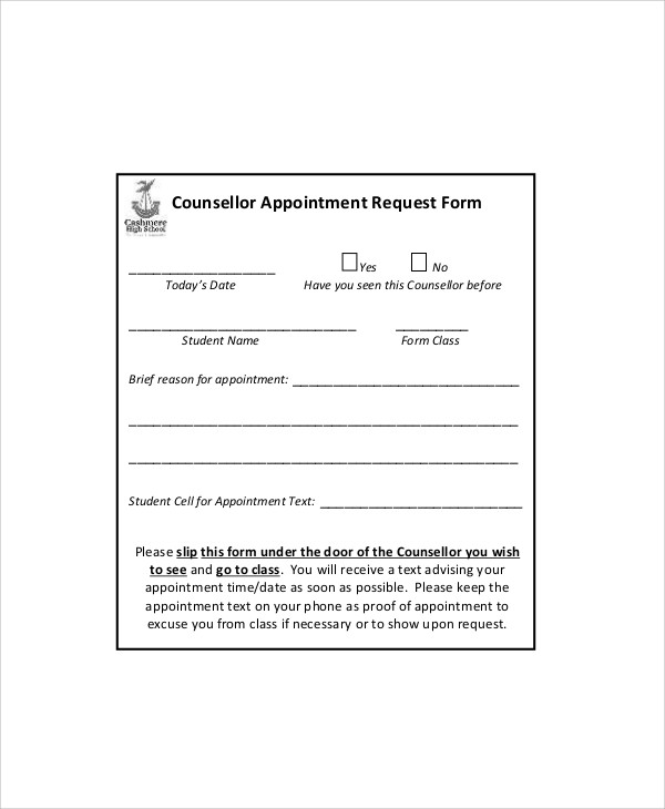 Sample Appointment Request Form   Examples In Word Pdf