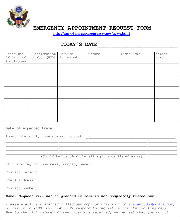 Sample Appointment Request Form - 12+ Examples In Word, Pdf