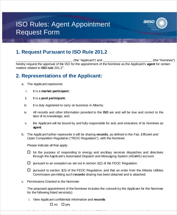 agent appointment request form example
