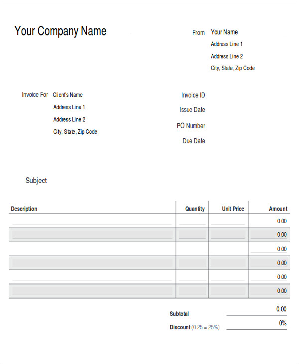 Sample Cash Invoice   Examples In Pdf Word Excel