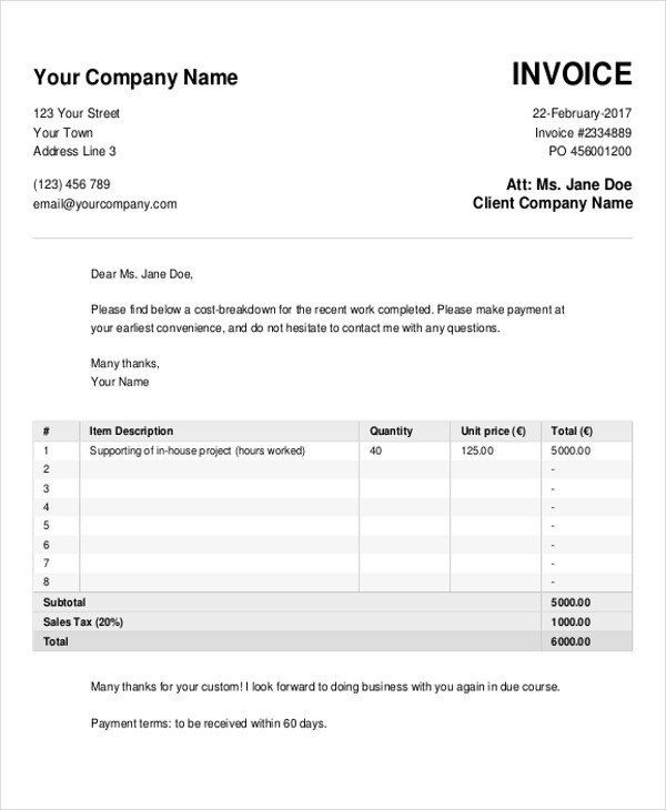 free 5  sample cash invoice templates in pdf