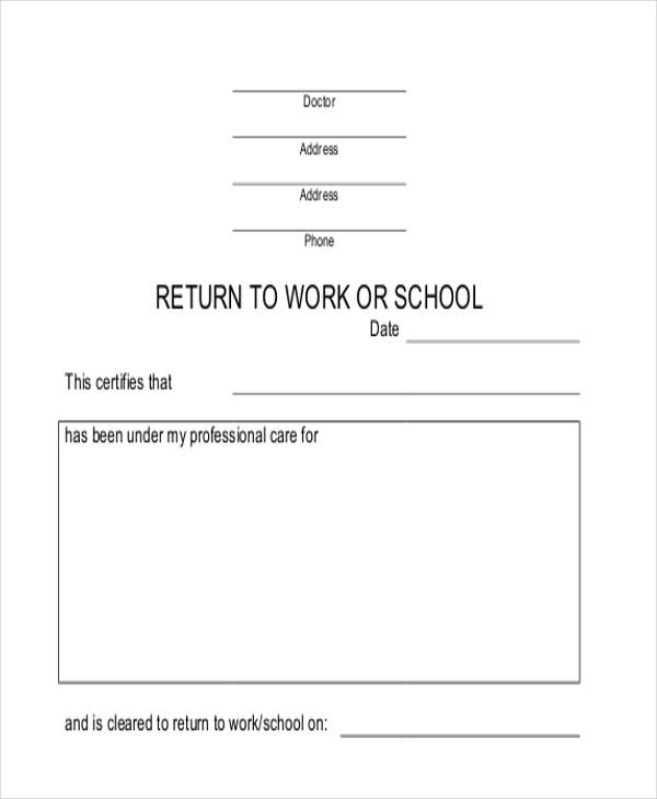 Delightful Return To School/Work Note In PDF