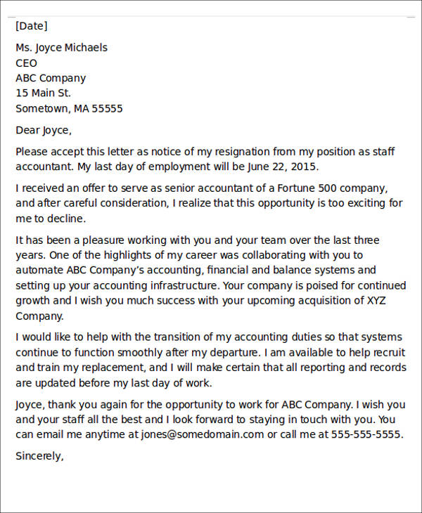 one day resignation letter example