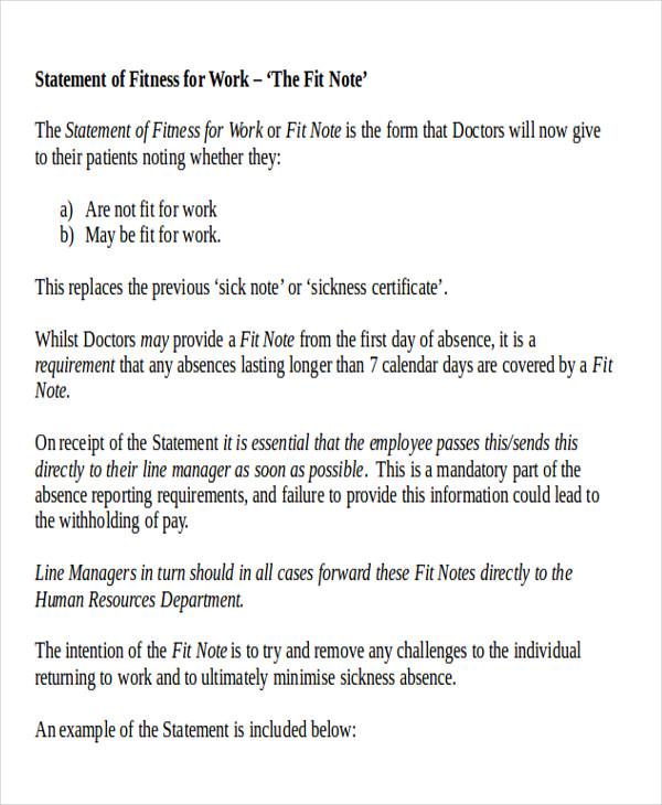 Return To Work Note Sample   Examples In Word Pdf