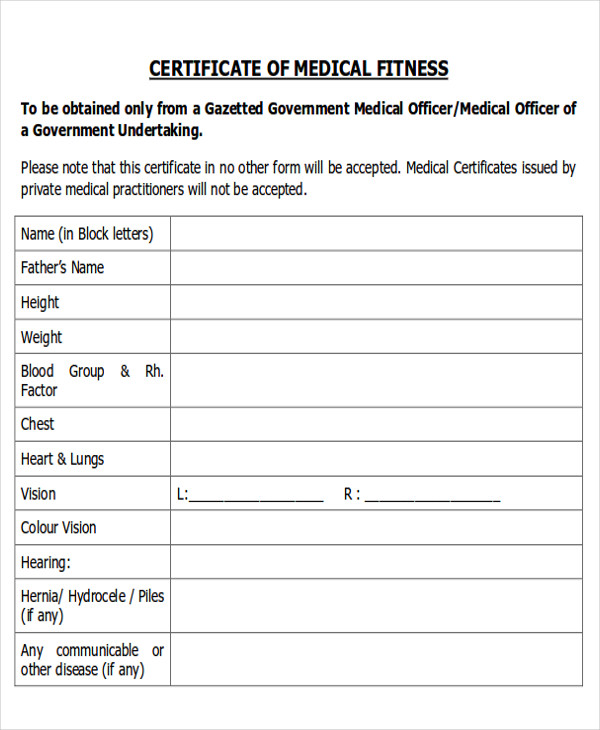 fitness medical certificate format