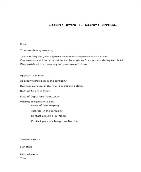 letter of request for meeting sample business letter format example 8 samples in word 21330 | Business Meeting Letter Format