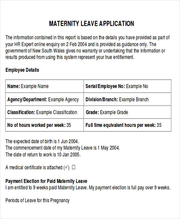 medical certificate for maternity leave format