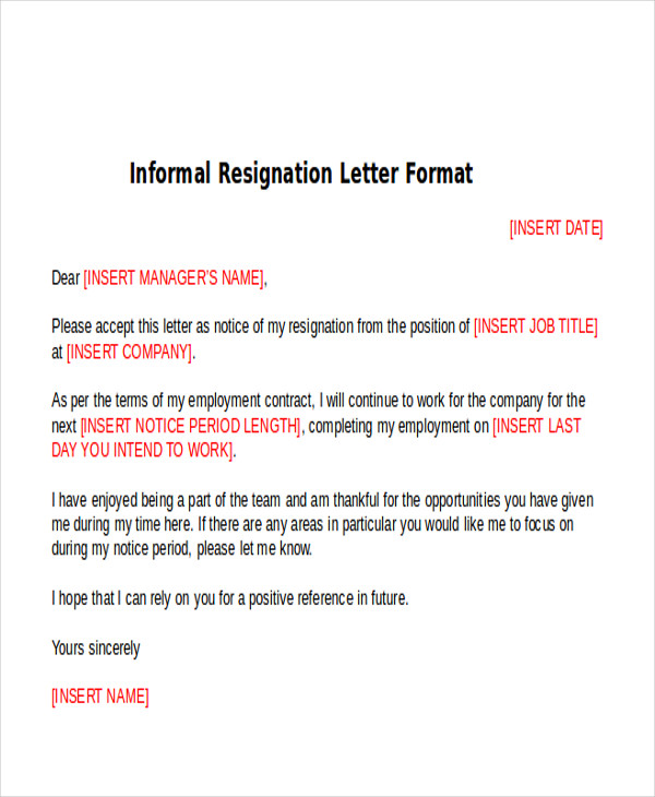 Sample Informal Resignation Letter   4+ Examples in PDF, Word