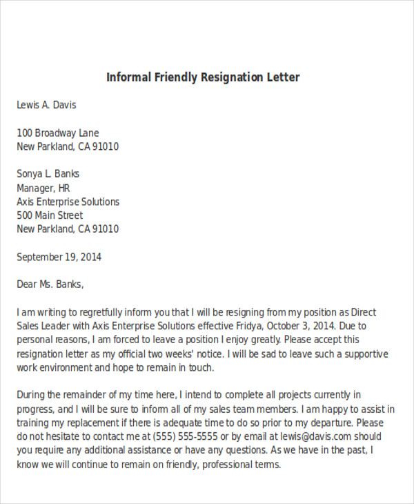 Sample Informal Resignation Letter   Examples In Pdf Word