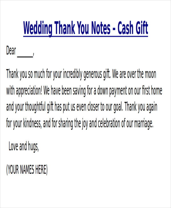 7 sample thank you notes for money sample templates for Thank you notes for wedding gifts templates