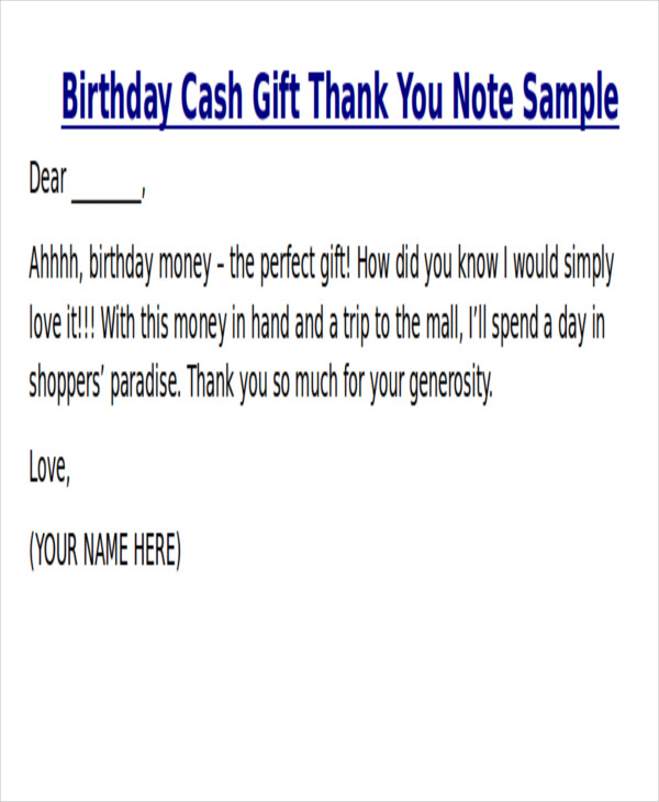 birthday thank you note for money