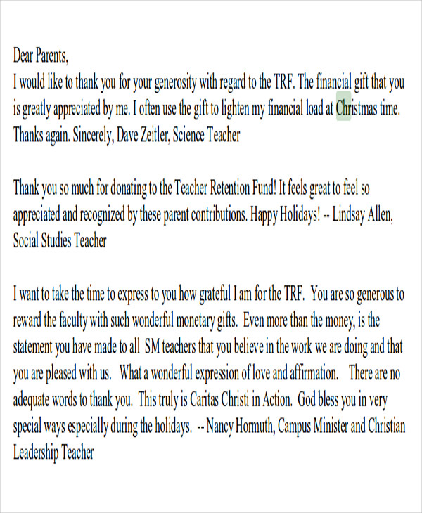 Sample Thank You Note For Money   Examples In Word Pdf