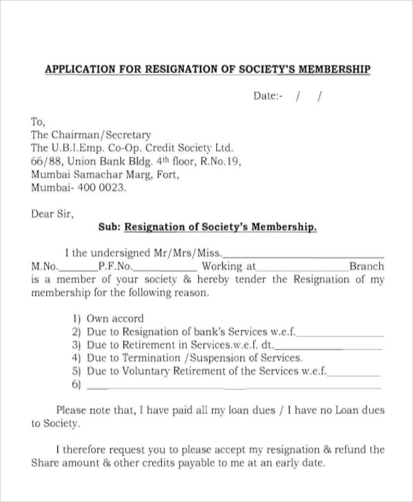 Sample Membership Resignation Letter 7 Examples in PDF Word – Secretary Resignation Letter
