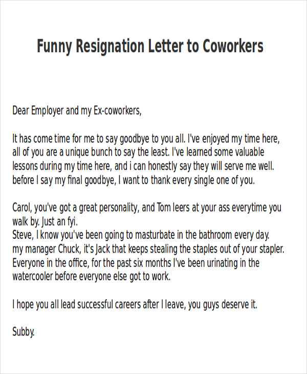 Gallery of Sample Letter To Colleagues After Resignation