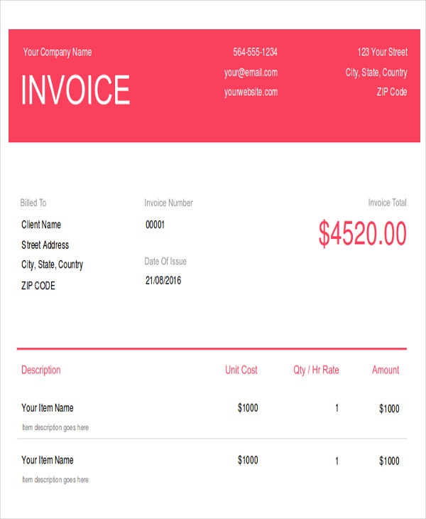 wedding photography invoice