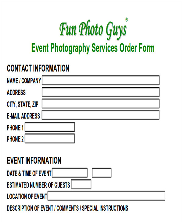 event photography invoice