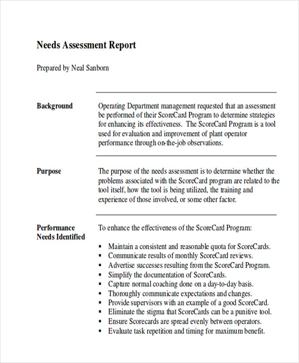 Assessment Report Format Sample   Examples In Word Pdf