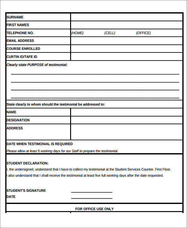 Sample Testimonial Request Form   Examples In Word Pdf