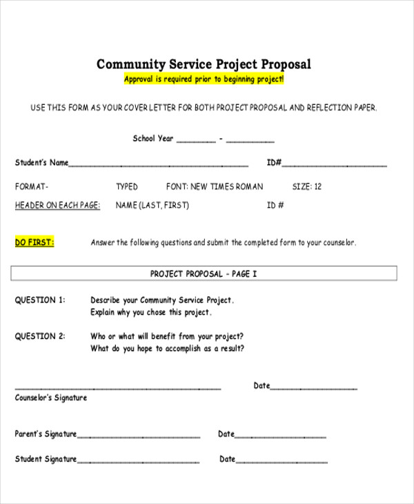 9 sample service proposal letters sample templates for Community service proposal template