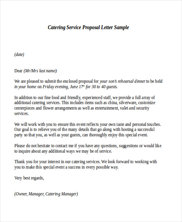 Sample Cover Letter Business Proposal: Sample Service Proposal Letter- 9+ Examples In Word, PDF