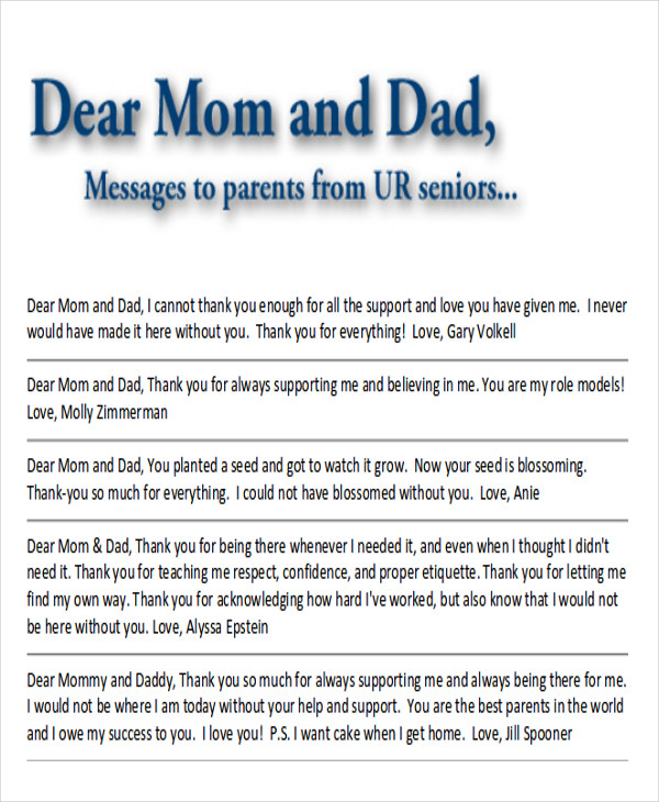 Sample Thank-You Note to Parents - 7+ Examples in Word, PDF