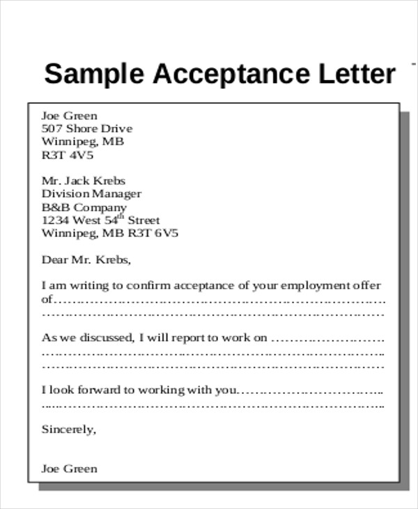 Sample Proposal Acceptance Letter   7+ Examples in Word, PDF