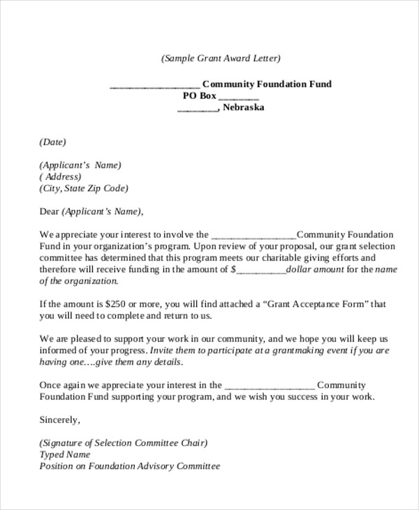 Sample Proposal Acceptance Letter
