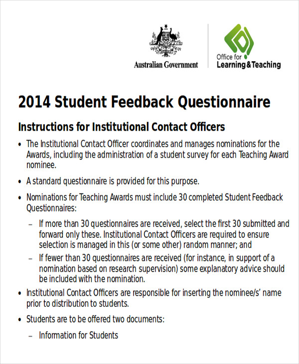 student feedback survey form1