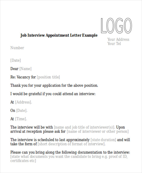 Sample Interview Appointment Letter   Examples In Pdf Word