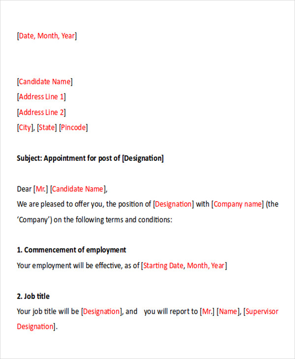 Sample Business Appointment Letter   Examples In Pdf Word