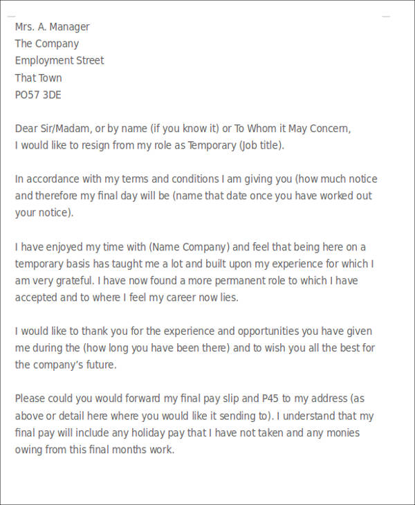 Temporary Employee Resignation Letter