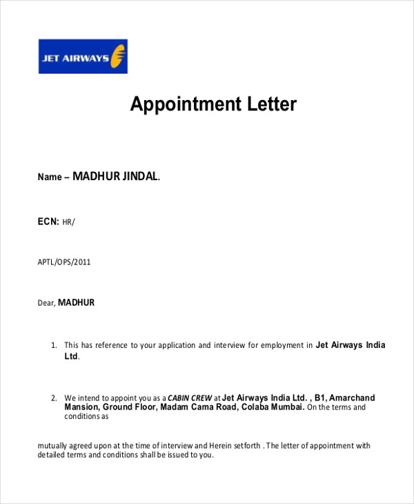 Interview Appointment Letter Format  Letter Of Appointment
