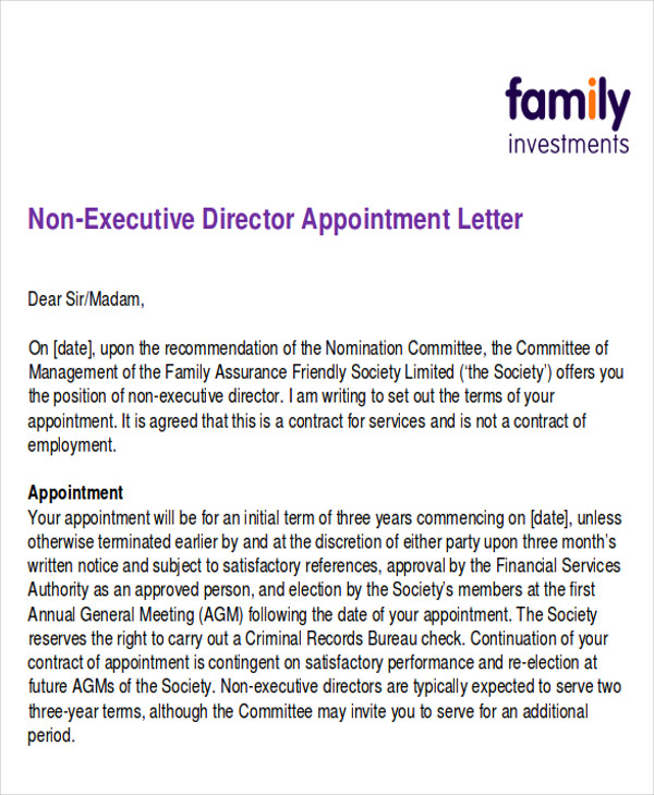 business appointment letter in pdf