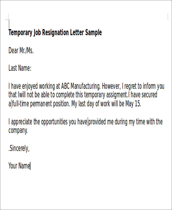 5 temporary resignation letter samples sample templates for Permanent contract of employment template